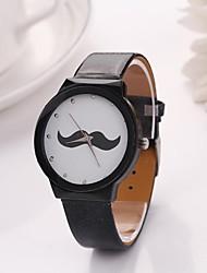 Women's  Mustache Round Dial  Leather  Quartz Watches (Assorted Colors) C&D-157