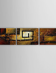 Hand-Painted Abstract Horizontal Panoramic Three Panels Canvas Oil Painting For Home Decoration