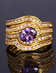 Luxury Women's 3 Layers Band Rings 18K Gold Plated Austrian Rhinestone