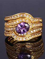 3 capas de anillos de banda de lujo de la mujer chapada de oro de 18 quilates de diamantes de imitación austriaco