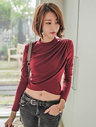 Women's Solid Red/Black T-shirt , Party Crew Neck Long Sleeve Ruched
