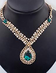Dream Women's Fashion Temperament Elegance  European Style Vintage Teardrop Gem Cut Out Metal Necklaces