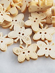 Butterfly Scrapbook Scraft Sewing DIY Wooden Buttons(10 PCS)