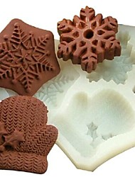 Christmas Gloves Snowflake Fondant Cake Chocolate Silicone Mold Cake Decoration Tools,L11.7cm*W11cm*H1.7cm