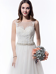 Lanting Bride A-line Wedding Dress-Cathedral Train Scoop Tulle