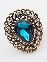 Women's Fashion Retro Temperament Rhinestone Big Gemstone Ring