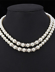 High Quality Synthetic Pearl Beads Luxury Women's Fancy Choker Collar Necklace