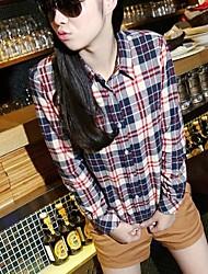 Women's Casual Lapel Plaids Flannel Shirt Top Blouse