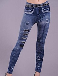 Frauen lmitation Cowboy Loch Turm Leggings
