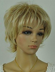 Women's Exquisite Blonde Mix Color Short Curly Daily Wig with Side Bang