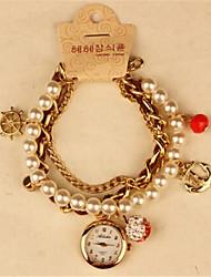 POPPY Women's Elegant Imitation Pearl Bracelet Watch