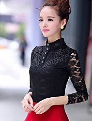 TS Stand Lace/Button T-shirt , Lace Long Sleeve