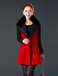 Women's Fur Collar Cashmere Wool Coat