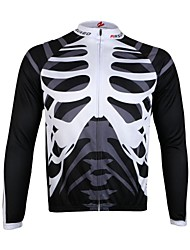 Arsuxeo Men's Full Zip Breathable Long Sleeve Cycling Jersey-Skull
