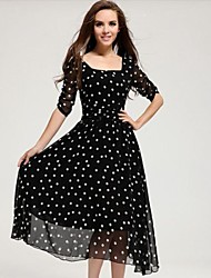 Women's Polka Dot Black Dress , Beach/Party Square Neck ¾ Sleeve