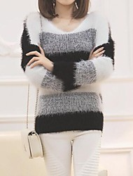 Women's Soft Mohair Pullover Stripe Thicken  Sweaters More Colors