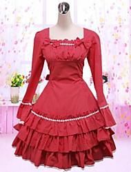 Sweet Lady Long Sleeve Knee-length Red Cotton School Lolita Dress