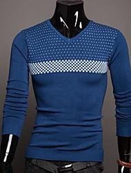 padrão de onda v pescoço t-shirt longo da luva dos homens
