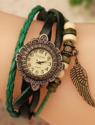 Мак женская старинные вязание пу часы браслет