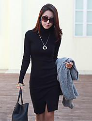 MIMI Women's Character Black Dresses , Casual High-Neck Long Sleeve