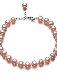 BRI.R® Fashion  Pink 6-6.5mm Natural  Pearl Bracelet  7'' with 2'' Thail Chain S925 Silver Clasp