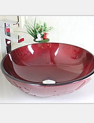 Современный темно-красный окрашены закаленное раковины стеклянный сосуд с крана набора