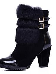 botas sapatos femininos rodada toe salto robusto meados de bezerro com fivela junta de divisão e de peles