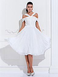 Homecoming Cocktail Party/Holiday/Prom Dress - Ivory Plus Sizes A-line Off-the-shoulder Knee-length Satin Chiffon/Stretch Satin