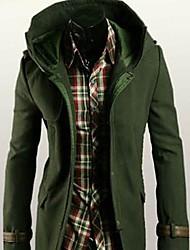 Masculino Casaco Algodão / Misto de Algodão Cor Solida Manga Comprida Casual-Azul / Verde