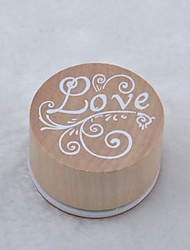 Vintage Floral Pattern Word Round Wooden Rubber Stamp(Love)