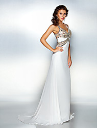 Sheath / Column Halter V-neck Sweep / Brush Train Chiffon Formal Evening Dress with Crystal Detailing by TS Couture®