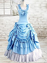 Sleeveless Floor-length Bule Cotton Gothic Lolita Dress