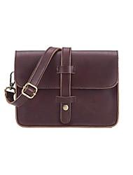 Women's PU Leather Solid Color Vintage Messenger Shoulder Bag