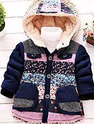 цветочный подкладка ватки с капюшоном пальто хлопка мальчика