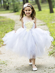 Ball Gown Tea-length Flower Girl Dress - Rayon Spaghetti Straps with Appliques