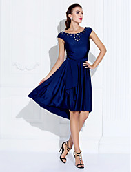 TS Couture Cocktail Party Company Party Family Gathering Dress - Short A-line Jewel Asymmetrical Jersey withBeading Crystal Detailing