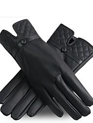 outdoor vrouwen herfst en winter mode hoogwaardige pu britse diamantrooster verdikte antislip draag warme handschoenen