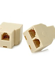 Telephone 3 Port Connector Extended Plug Adapter Set   2 PCS