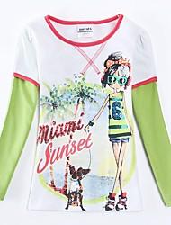 T-shirt col rond fashion girl exquise et le chien imprimés manches longues antumn hiver les enfants de fille tees impression aléatoire