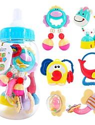 5 pcs forma de garrafa de leite chocalhos para brinquedos sino anel bebê