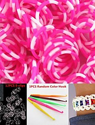 600PCS Rose&White 8-Segment DIY Twistz Silicone Rubber Bands for Rainbow Loom Bracelets with Hook&S-clips