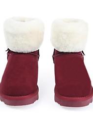 couro de vaca curto botas térmicas das mulheres