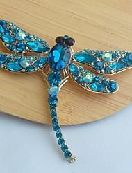 женская классическая сплава золото-тон бирюзовый горный хрусталь кристалл стрекоза брошь контактный