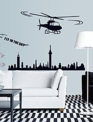 Wall Stickers Wall Decals, Helicopter City Children Kidsroom Decor PVC Wall Stickers