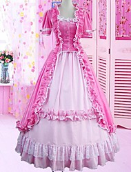 Short Sleeve Floor-length Pink Cotton Gothic Lolita Dress