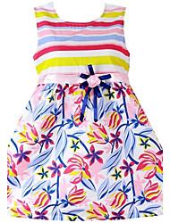 vestido estampado de flores de algodão da listra linda festa casual crianças de roupas de menina vestidos