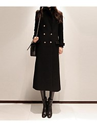 Women's Fashion Style Long Double Breasted Wool Coat