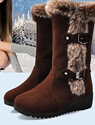 Women's Spring Fall Winter Snow Boots Leatherette Fur Casual Low Heel Buckle Black Brown
