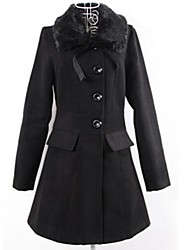 Women's Fashion Rabbit Fur Collar  Pure Color Slim Outwear