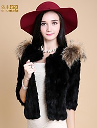 Women Rabbit Fur/Raccoon Fur Outerwear , Lined